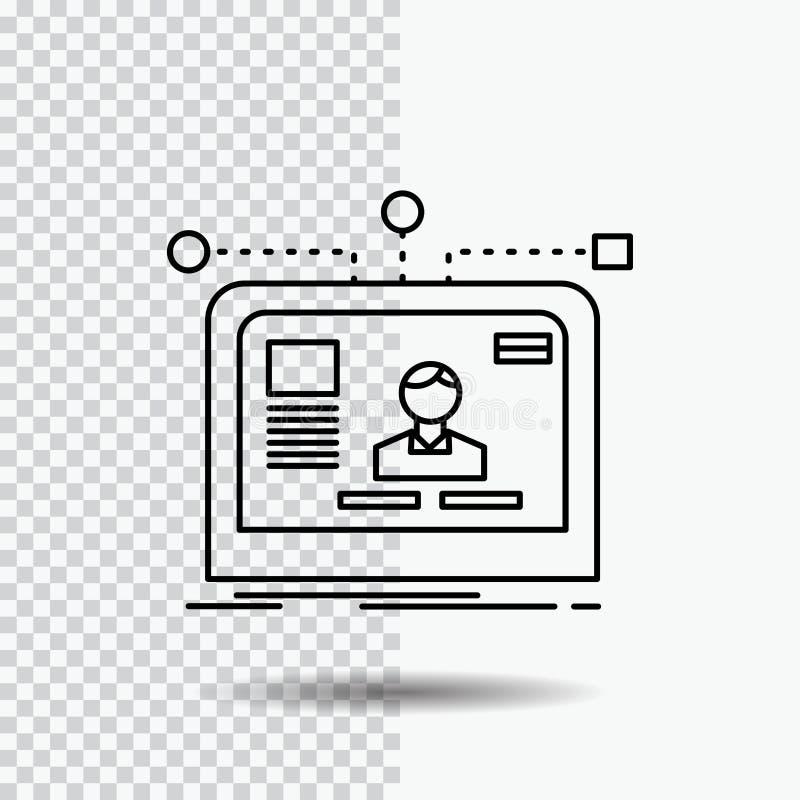 manöverenhet website, användare, orientering, designlinje symbol på genomskinlig bakgrund Svart symbolsvektorillustration royaltyfri illustrationer