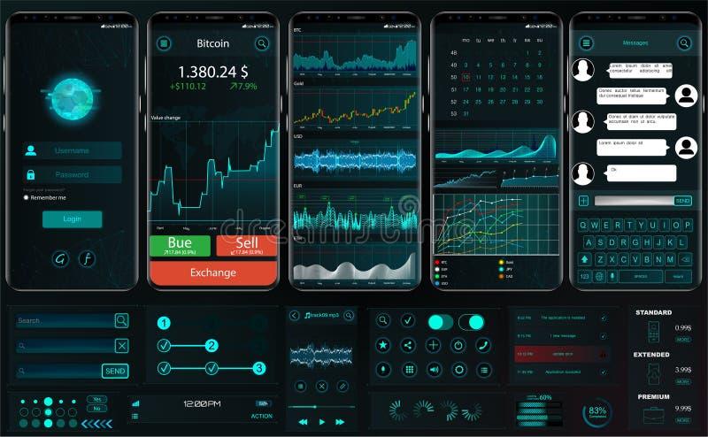 Manöverenhetsapp-mall för att handla plattformen UI UX stock illustrationer