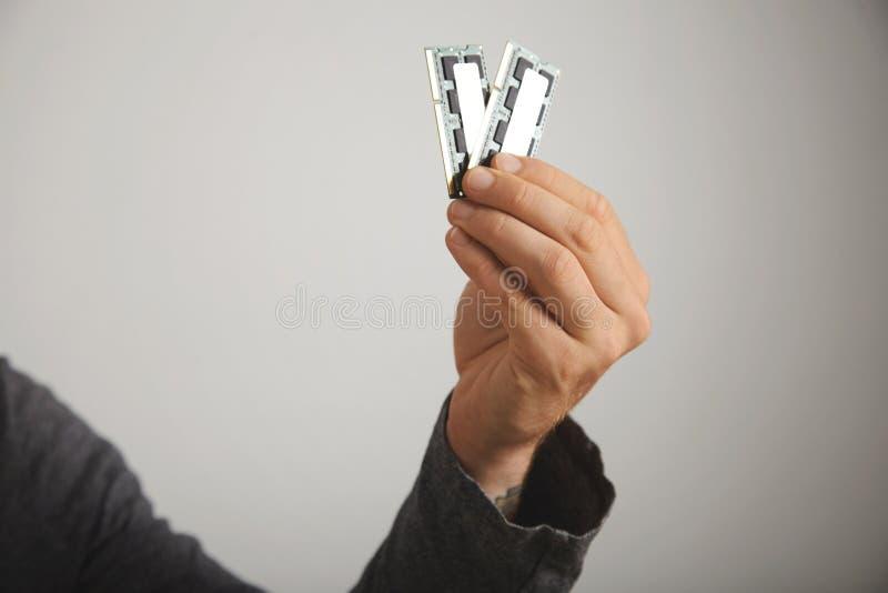 Man& x27; 举行RAM的s手 免版税库存照片