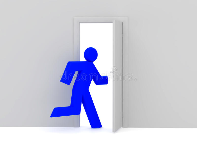 Man. 3d rendered illustration isolated on white background and door. High resolution image vector illustration