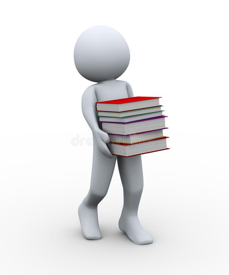 man 3d med böcker vektor illustrationer