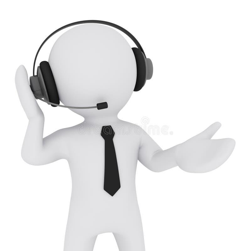 Download Man 3D Med Hörlurar Med Mikrofon Stock Illustrationer - Illustration av förbind, företag: 19794743