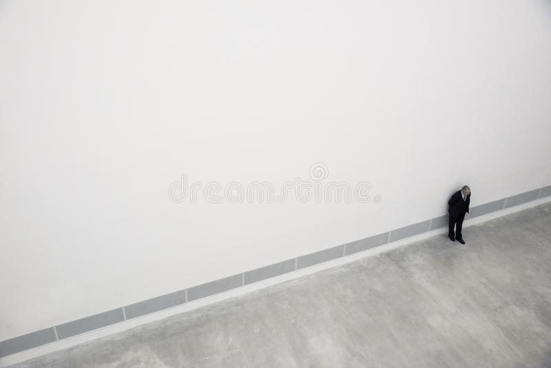 Man from above in an art gallery in Berlin stock photography