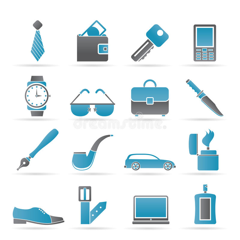 Man Accessories icons and objects royalty free illustration