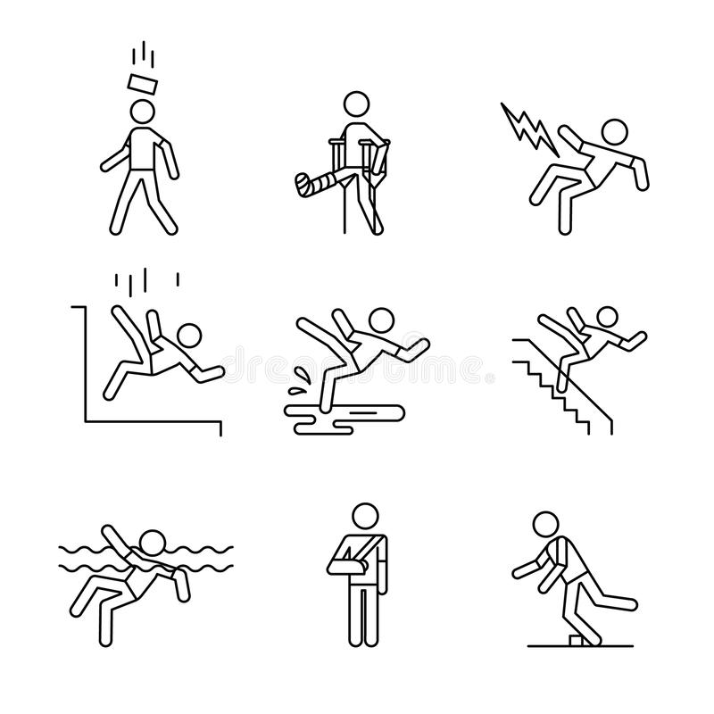 Free Man Accident And Traumas Safety Sign Set Royalty Free Stock Photography - 81648897