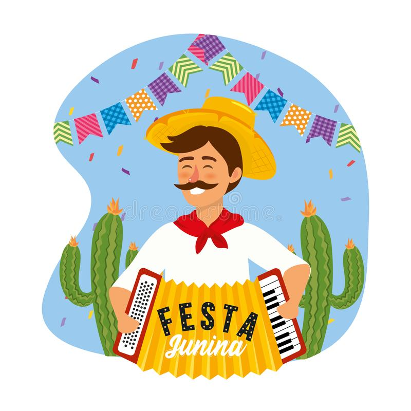 Man with accordion and party banner decoration. Vector illustration royalty free illustration