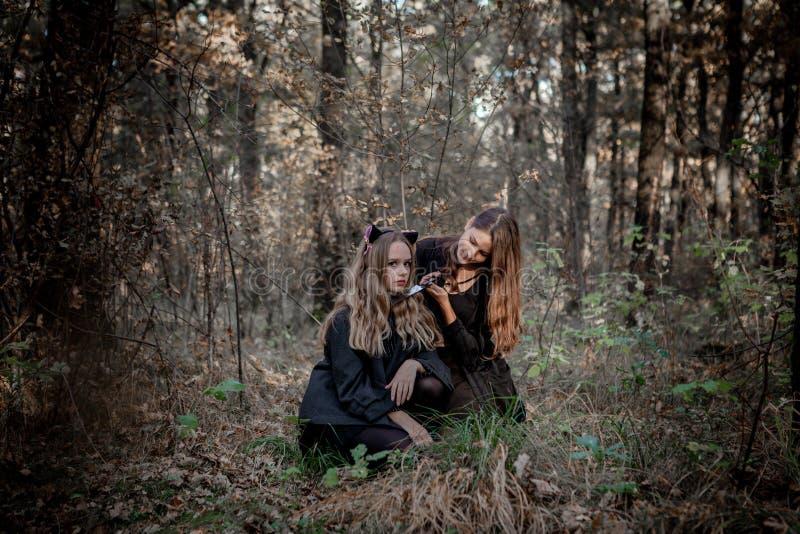 Man?aco e bruxa de Dia das Bruxas na floresta fotografia de stock royalty free