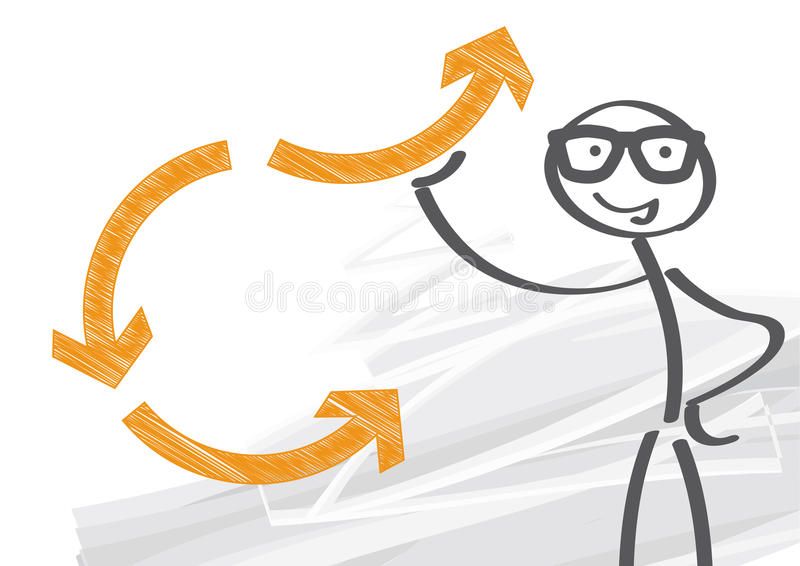 Man of action. Changing drections - illustration with stick figure vector illustration