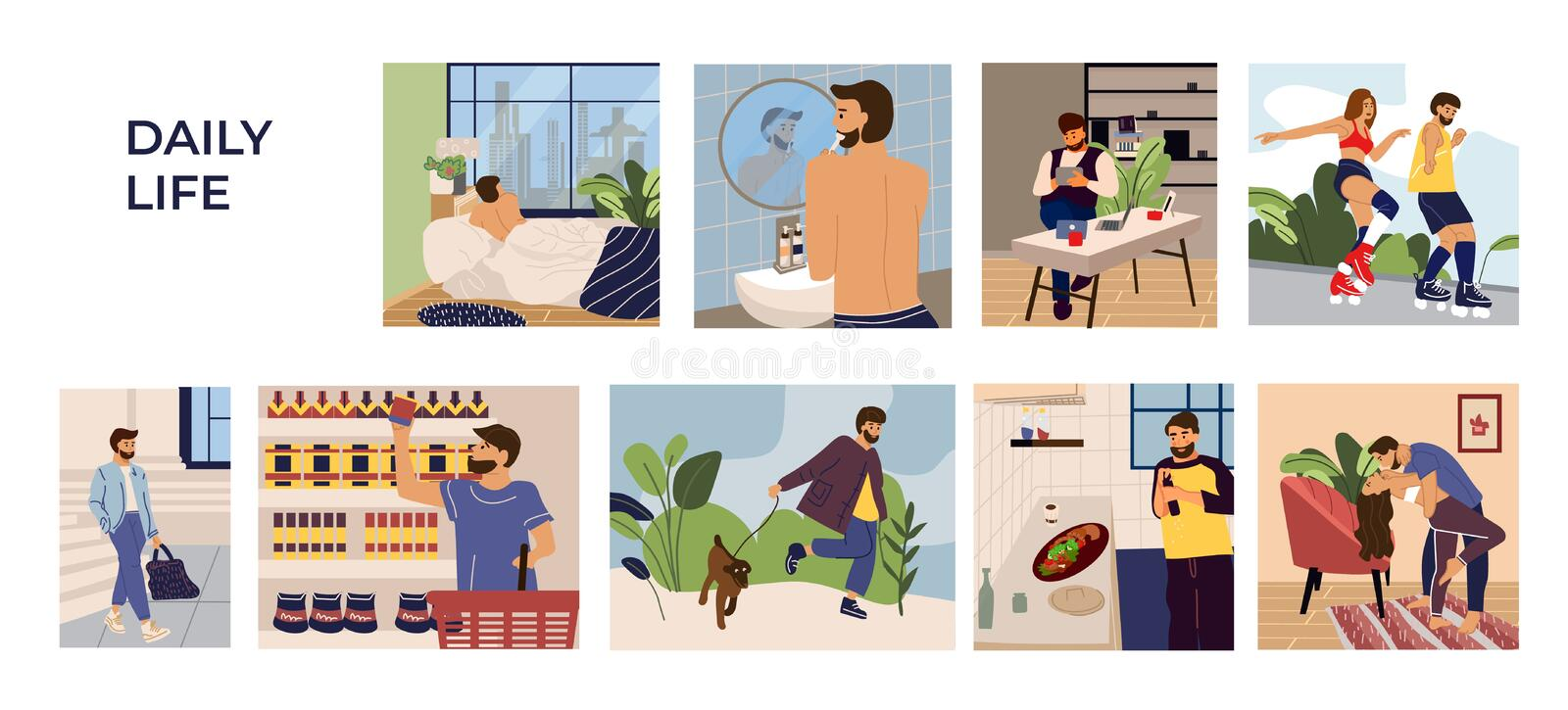 Man activities scenes. Cartoon hand drawn young man character leisure, work and routine. Vector sleeping shopping royalty free illustration