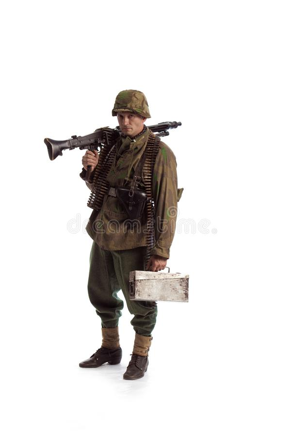 Man actor in the movie role of an old military man WWII. Posing against white background royalty free stock photos