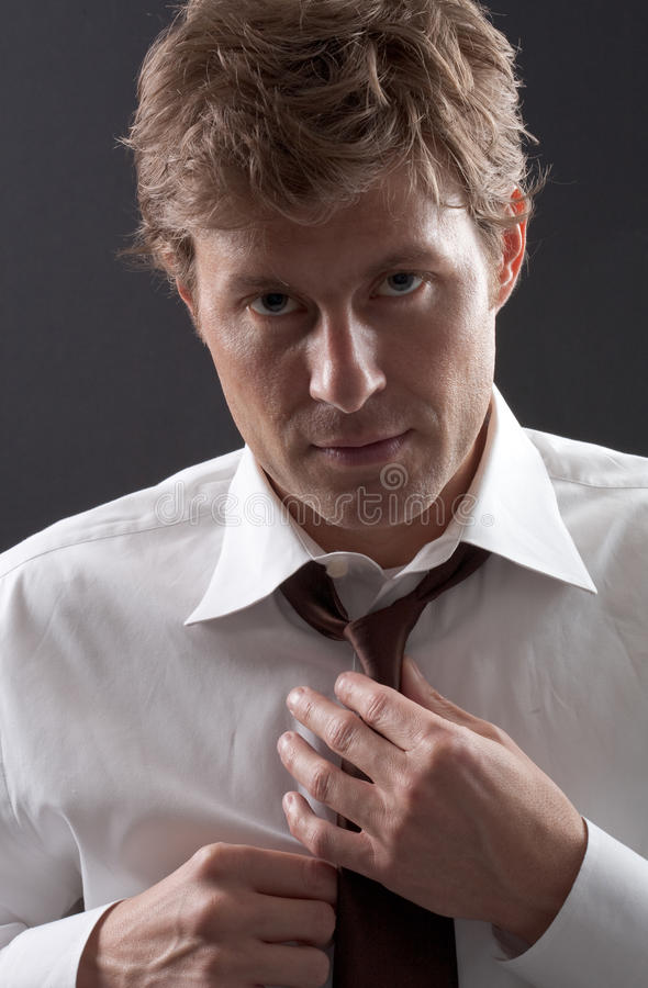 Download Man Adjusting Tie stock image. Image of formal, gesture - 13837327