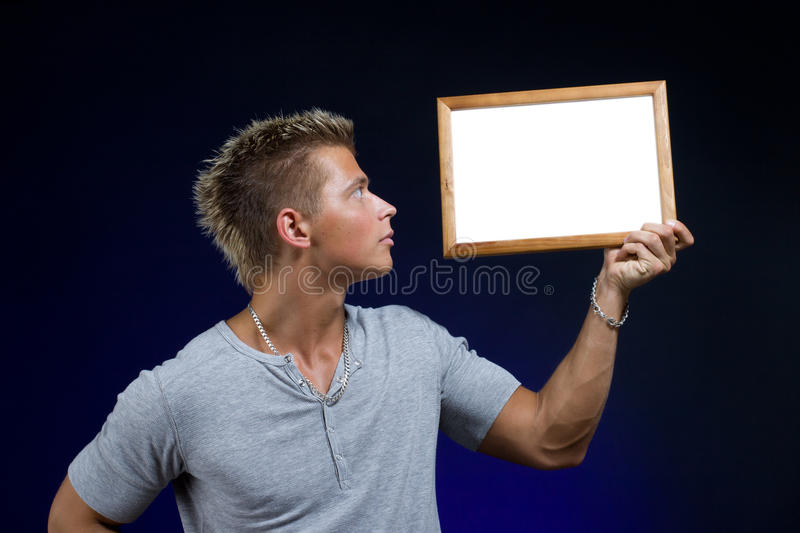 Man with advertising board royalty free stock images