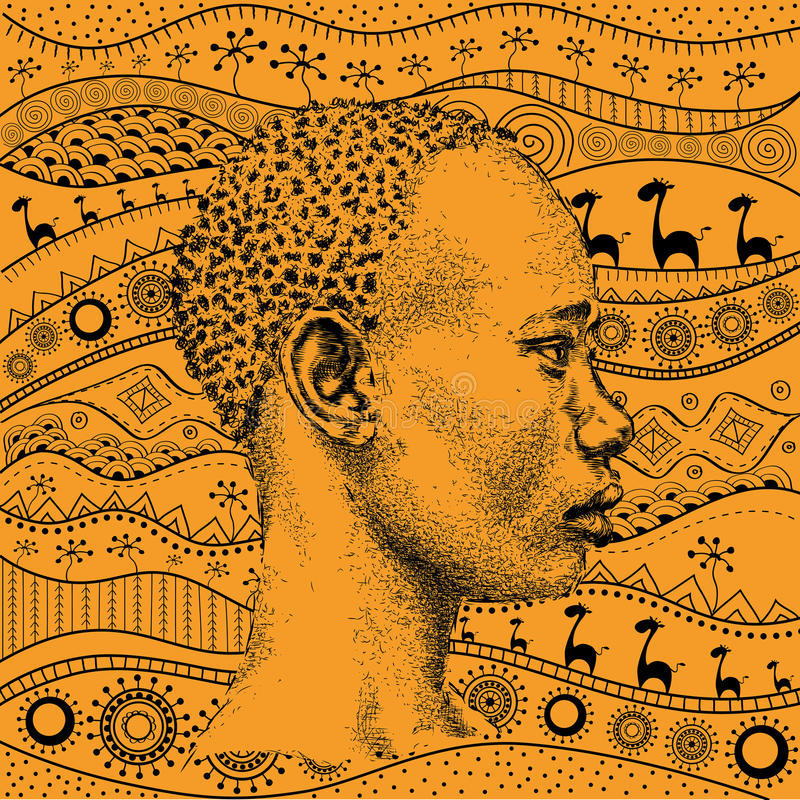 Man on African hand-drawn ethno pattern, tribal background. Beautiful black boy. Profile view. Vector illustration stock illustration