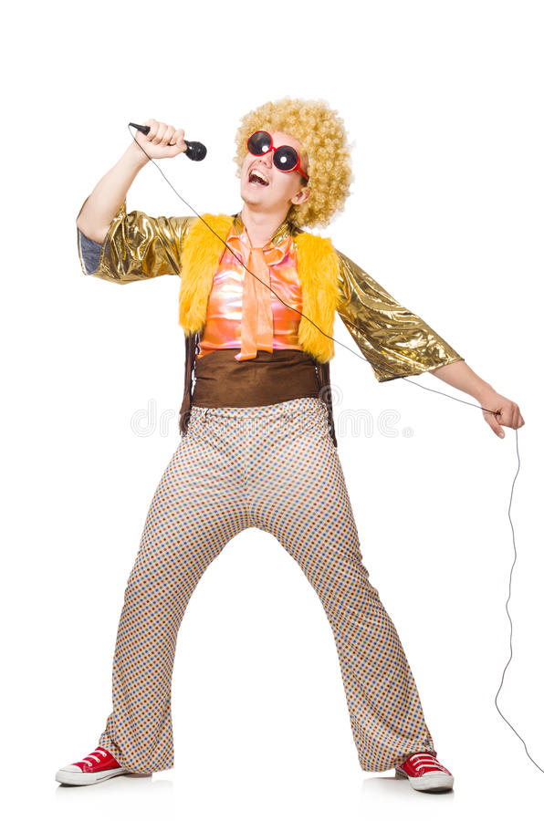 Man with afrocut and mic isolated stock photos