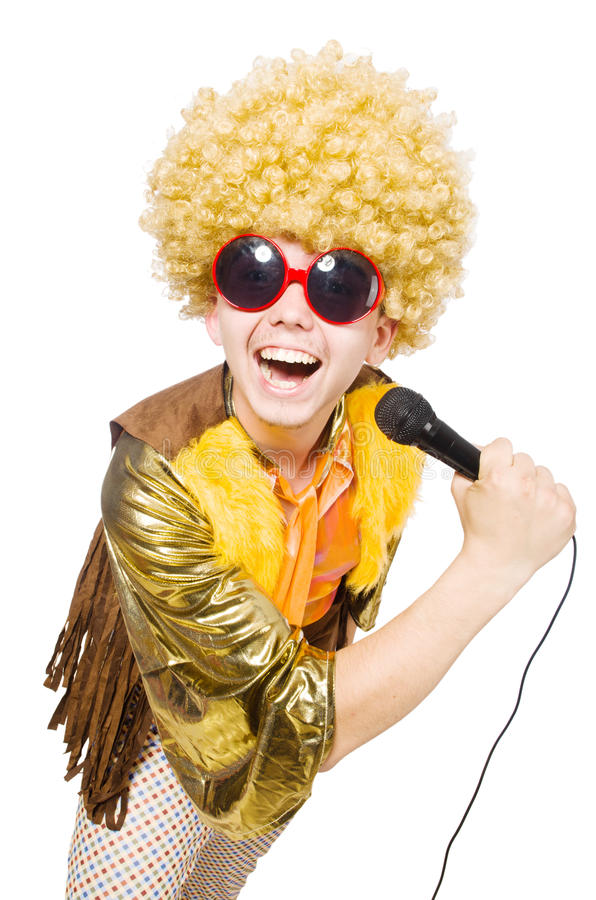 Man with afrocut and mic isolated stock image