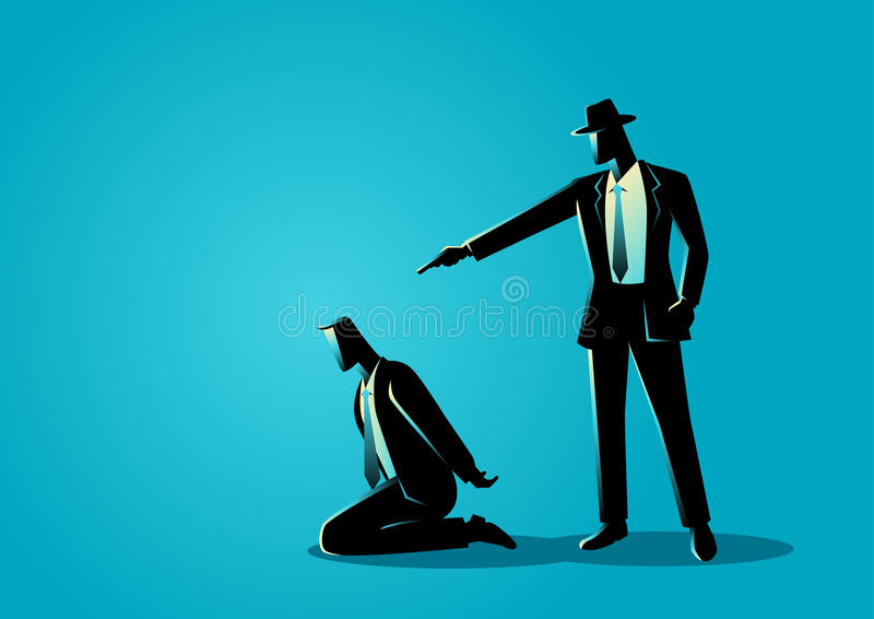 Man aiming a gun to the kneeling man`s head royalty free illustration