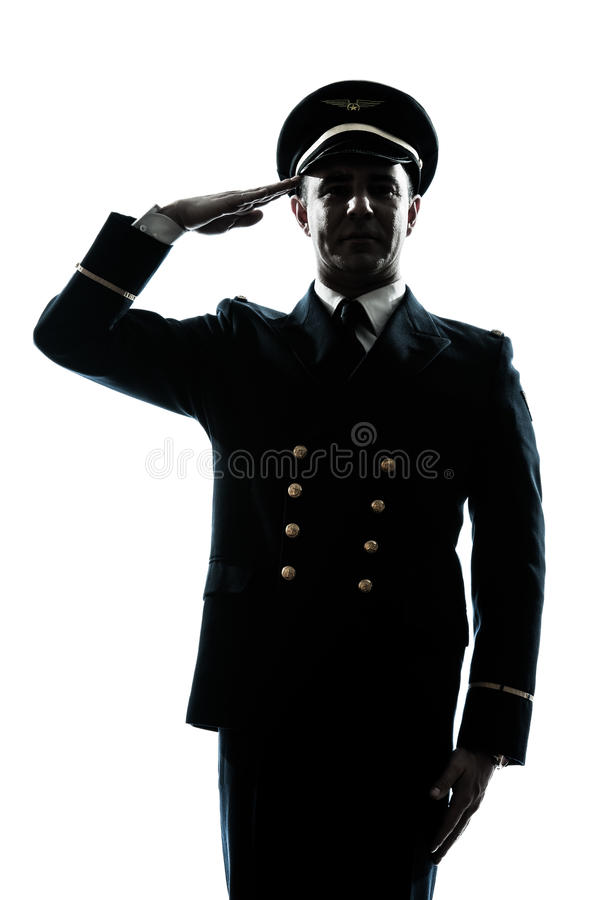 Download Man In Airline Pilot Uniform Silhouette Saluting Stock Image - Image: 25445467