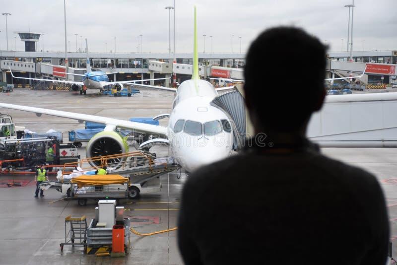 Man at the airport waiting royalty free stock photography