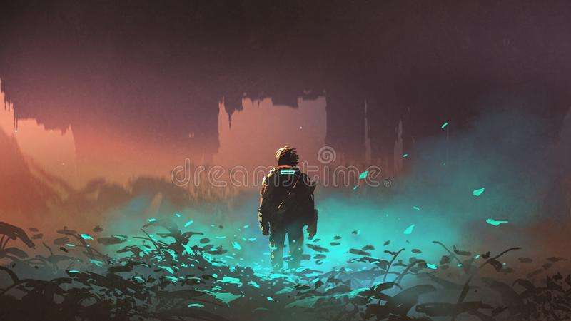Man in the alien planet. Man in futuristic suit standing on glowing plants in the alien planet, digital art style, illustration painting royalty free illustration