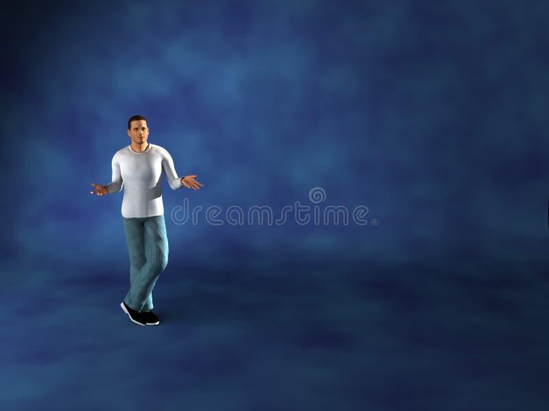 Man alone computer render royalty free stock photos