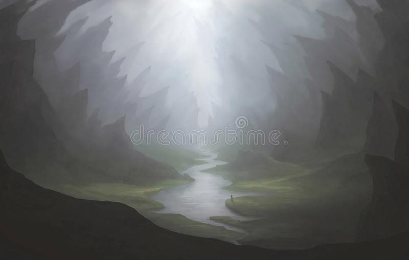 River in the valley royalty free illustration