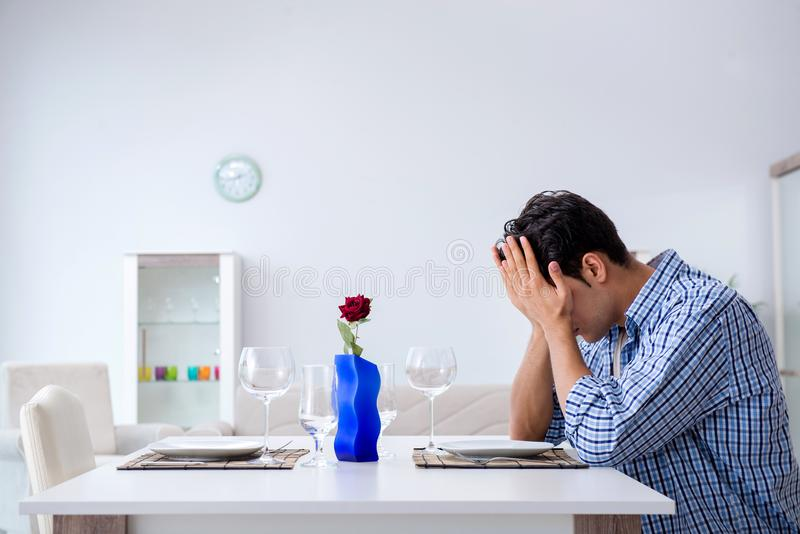 The man alone preparing for romantic date with his sweetheart royalty free stock photos