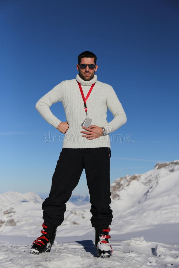Man in Alps royalty free stock images