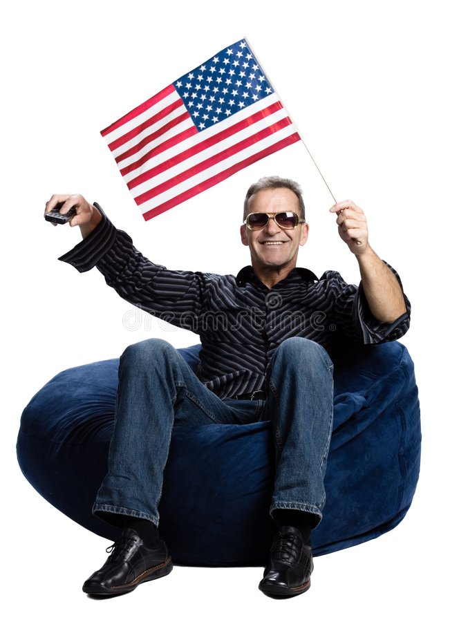 Man with an american flag royalty free stock photo