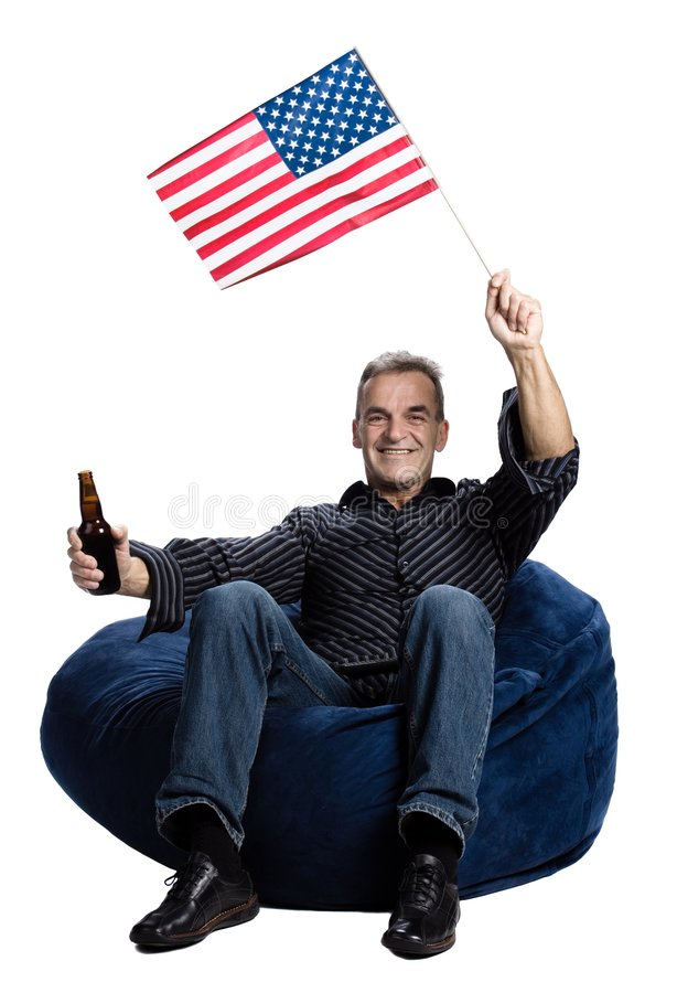 Man with an american flag royalty free stock image