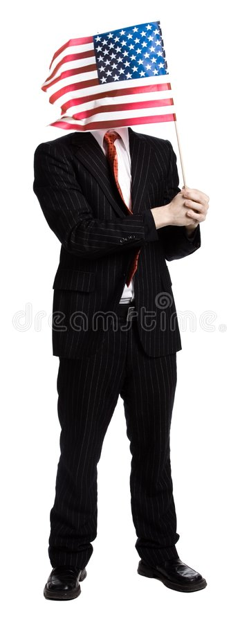 Man with an american flag royalty free stock images