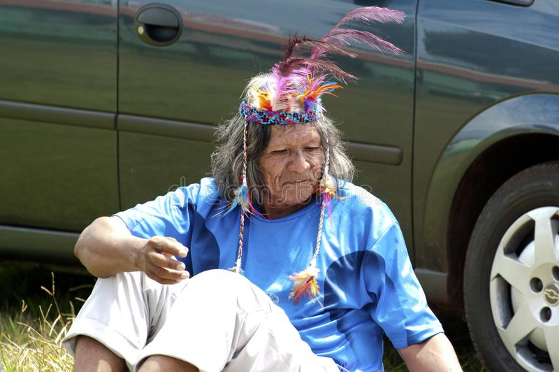 Native indian man. Man with american indian roots and hair Accessoires stock photo