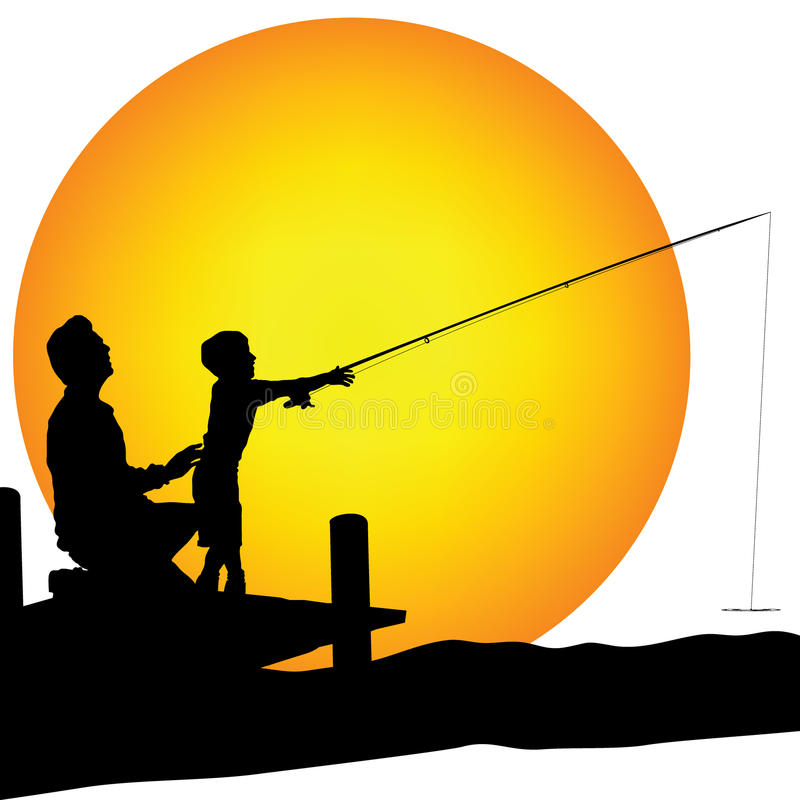 Free Man And Child Shilouette Fishing Royalty Free Stock Images - 11971969