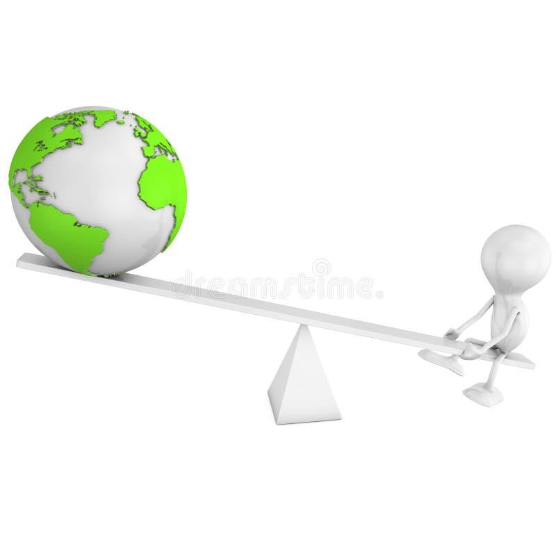 Free Man And Globe Balance Royalty Free Stock Image - 15383226