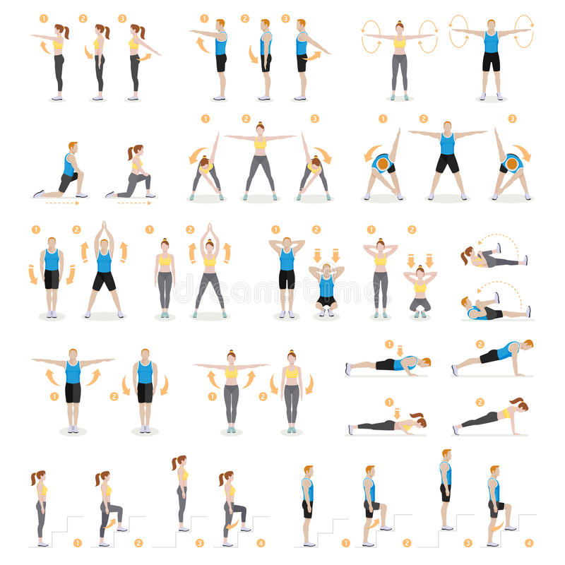 Free Man And Woman Workout Fitness, Aerobic, Exercises. Royalty Free Stock Photography - 94328237