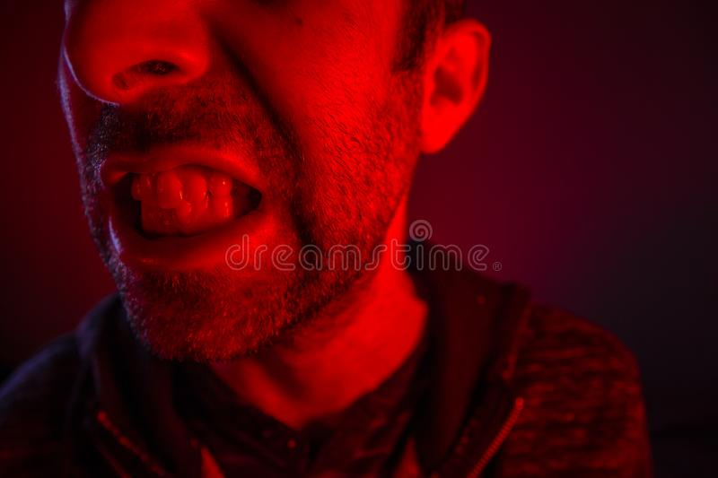 Man with angry facial expression royalty free stock images