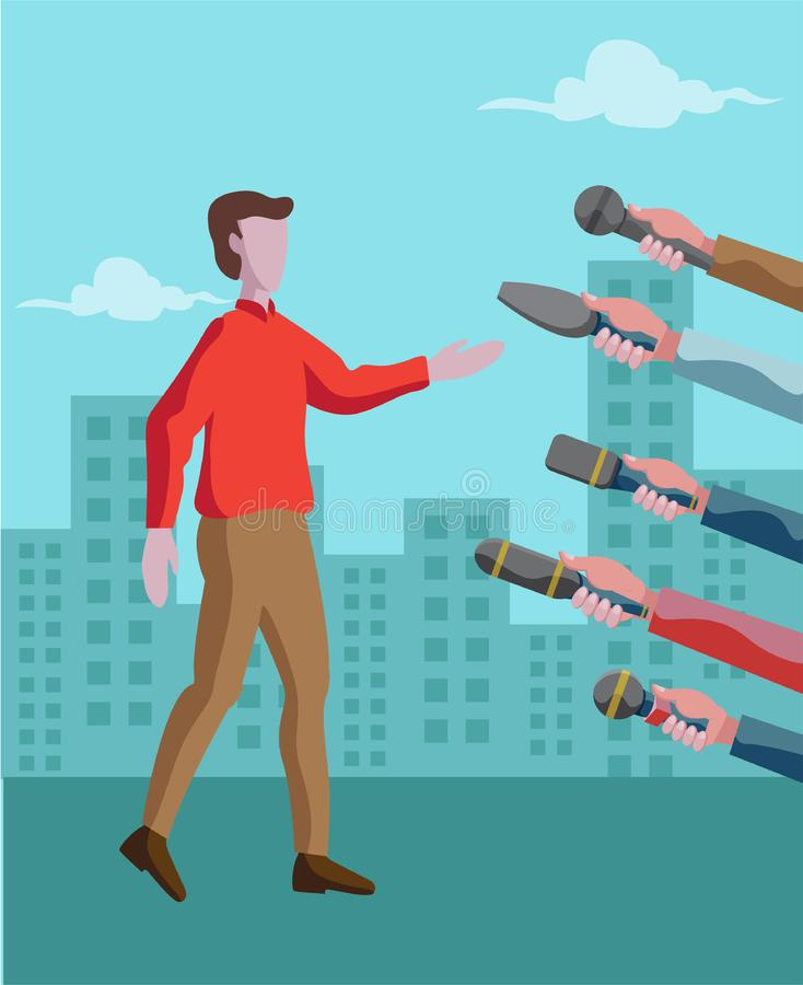 Man answering to many microphones vector illustration