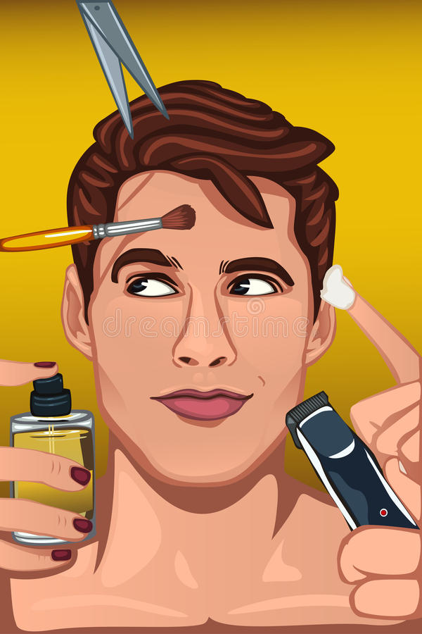 Man applying various beauty products to face royalty free illustration