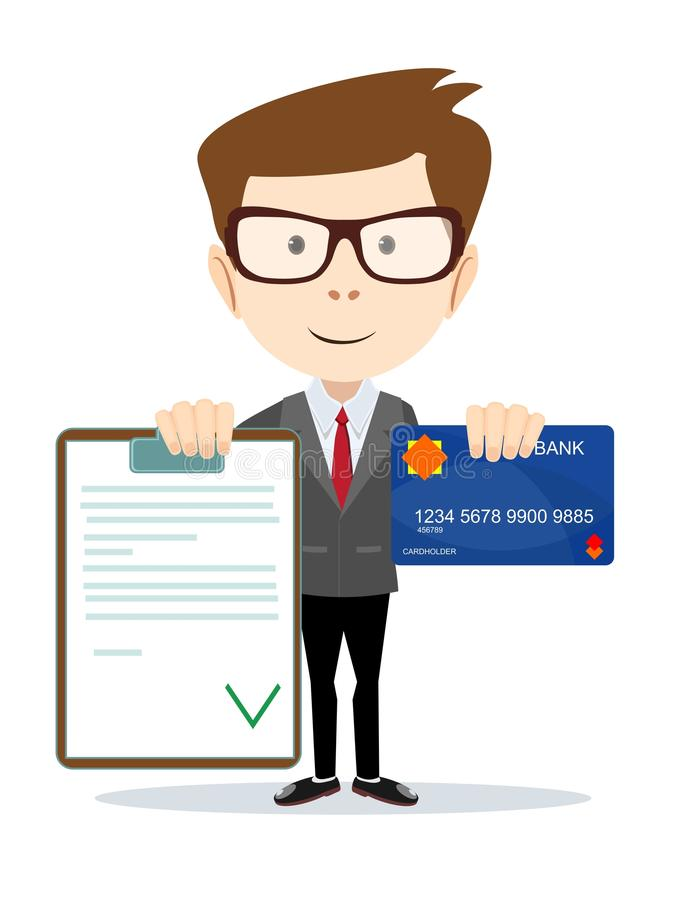 Man with an approved contract and credit cards vector illustration