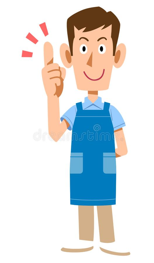 A Man with an apron explaining the main points. The image of A Man with an apron explaining the main points royalty free illustration