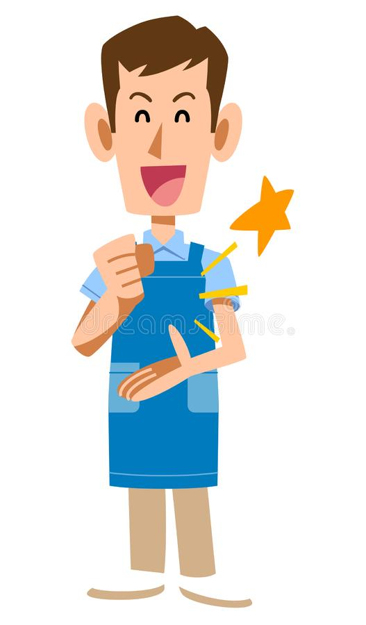 A man with an apron that makes sense. The image of A man with an apron that makes sense stock illustration