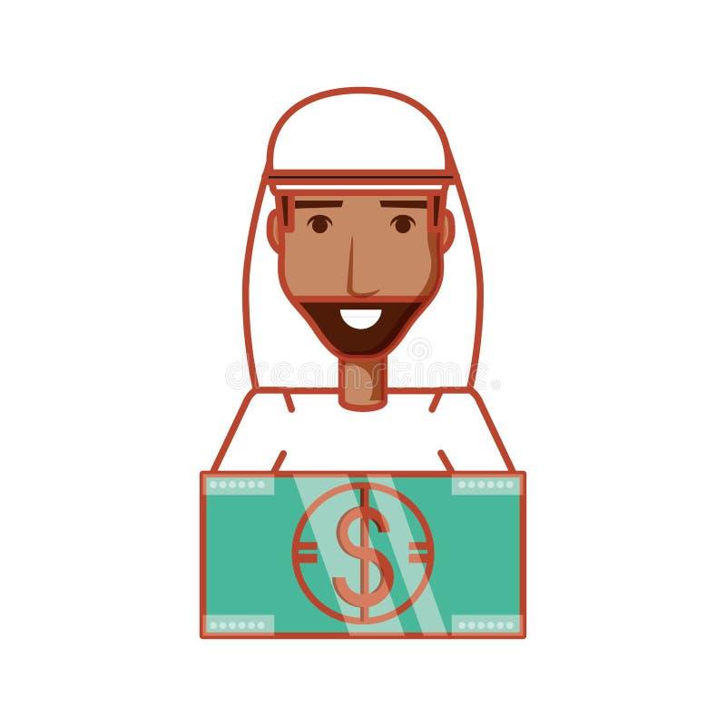 Man arab with bill dollar money. Vector illustration design vector illustration