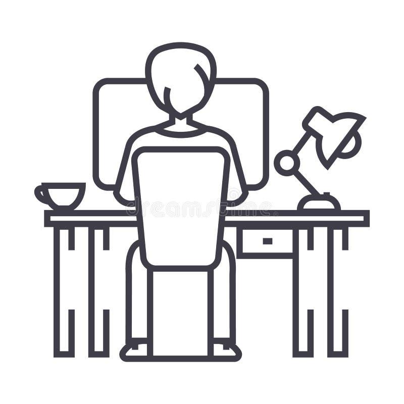 Man arbete på datoren på tabellen, den tillbaka vektorlinjen symbolen, tecknet, illustration för sammanträde på bakgrund, rediger vektor illustrationer