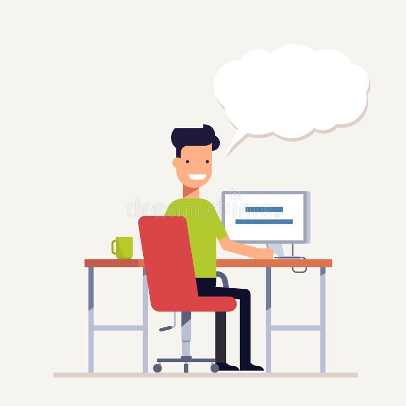 Man arbete på en dator, och det säger något tillbaka sikt Workflowkontorsarbetare Ung specialistThe programmerare stock illustrationer