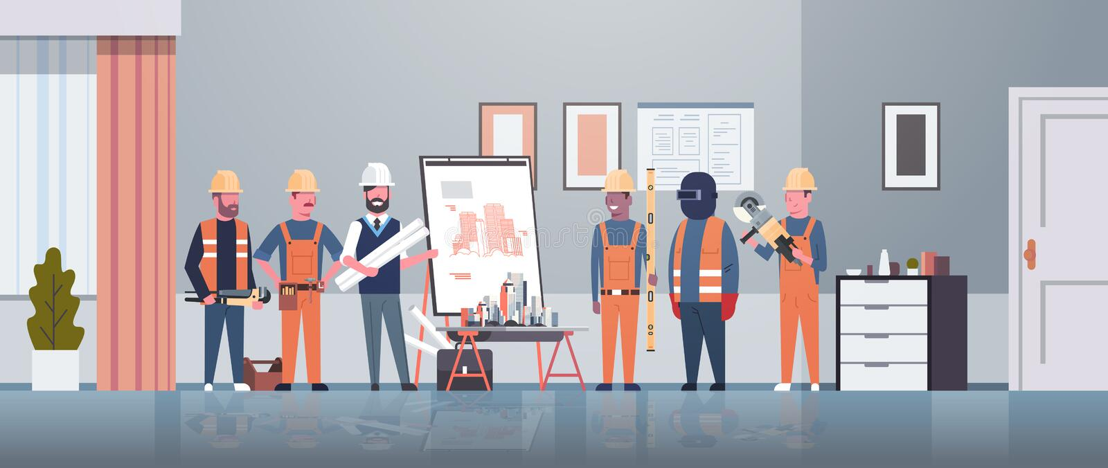 Man architect engineer showing drawing building blueprint on easel board to construction workers group panning project vector illustration