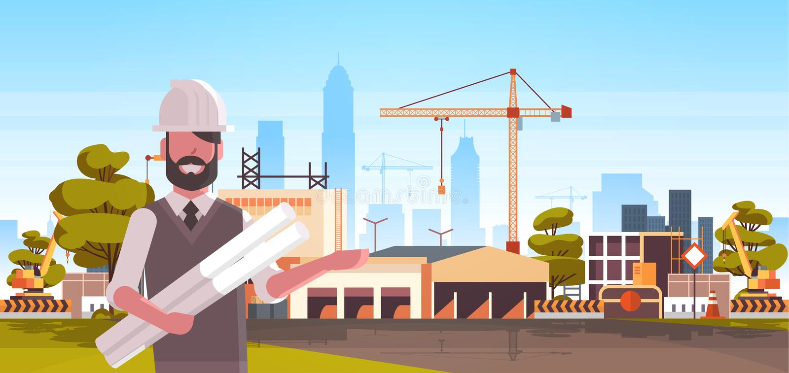 Man architect in helmet holding rolled up blueprints over city construction site tower cranes building residential. Buildings cityscape skyline background stock illustration