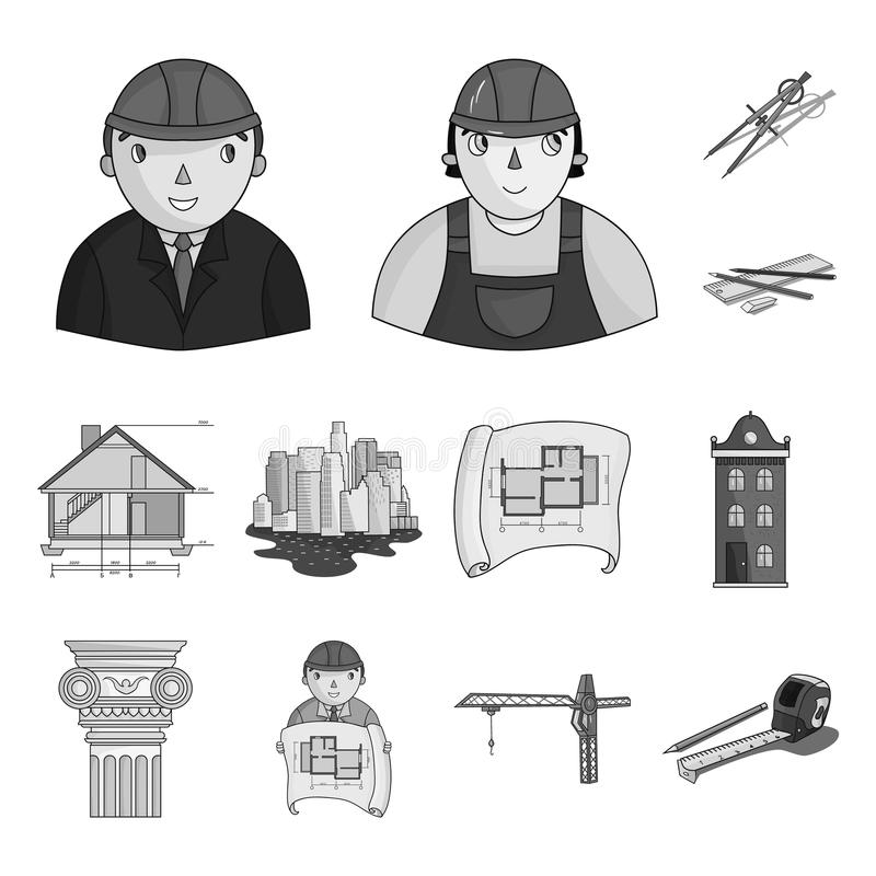 Man, architect, plan, drawing, crane, lifting, machine, tape, measure, pencil, architecture, building, art, monument stock illustration