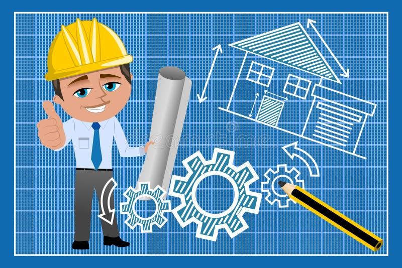 Man Architect Thumb Up Blueprint royalty free stock images