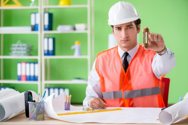 The man architect working on the project. Man architect working on the project royalty free stock photo