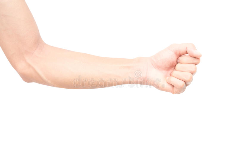 Man arm with blood veins. On white background royalty free stock photo