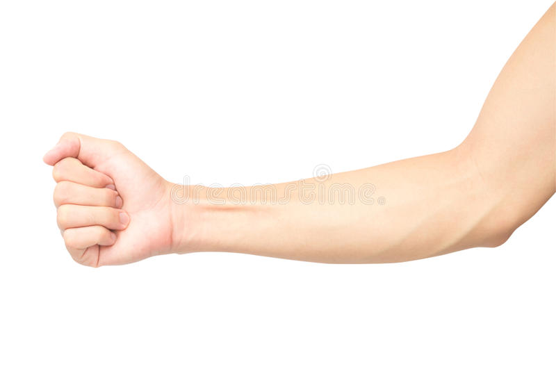 Man arm with blood veins on white background with clipping path, health care and medical concept royalty free stock photos